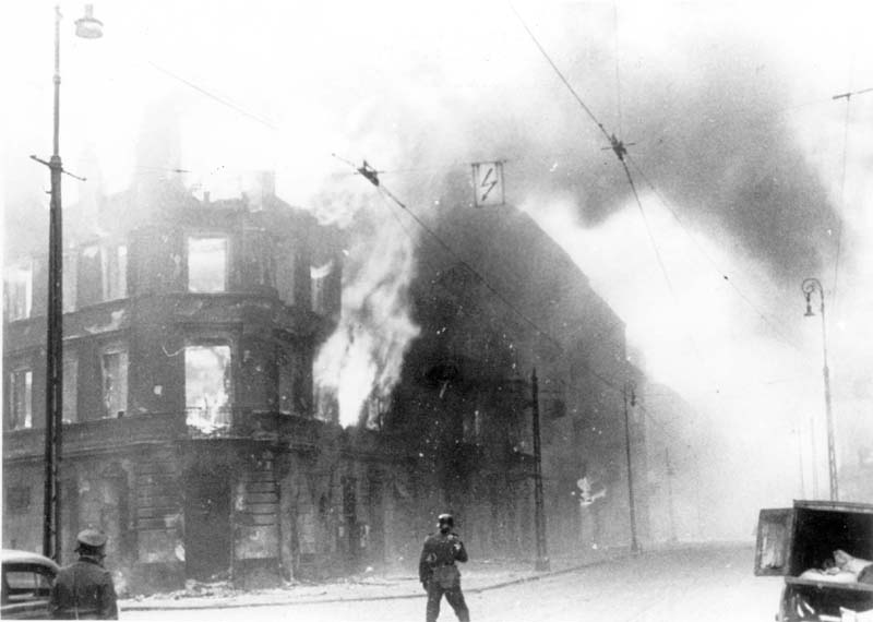Buildings going up in flames at the time of the suppression of the Warsaw Ghetto Uprising