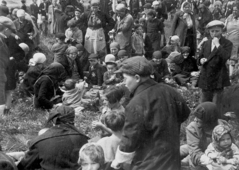 Birkenau, Poland, May, 1944, Jews waiting in a grove near gas chamber number four prior to their extermination (detail)