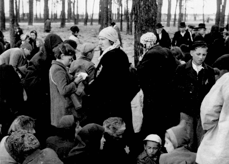 Birkenau, Poland, May, 1944, Jews waiting in a grove near gas chamber number four prior to their extermination