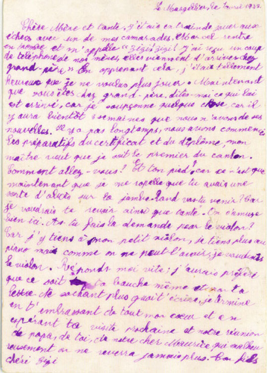 Letter written by Zizi to his mother from Le Masgellier, 1943