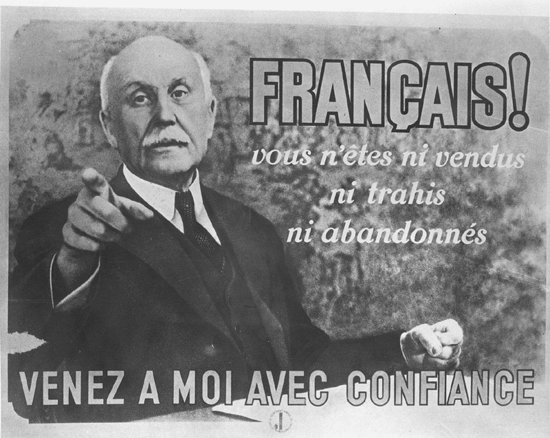 France, A propaganda poster of the Vichy regime bearing a picture of Marshal Petain.