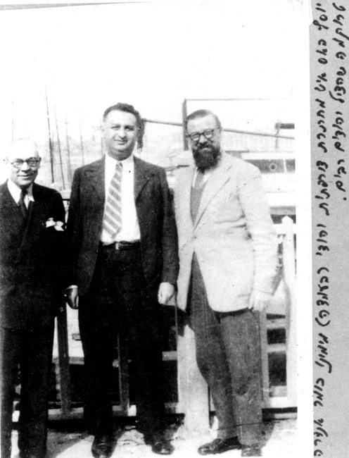 Le Chambon sur Lignon, France, Josef Hass, a Jewish member of the French Underground with the Pastor Andre Trocme, a saviour of Jews