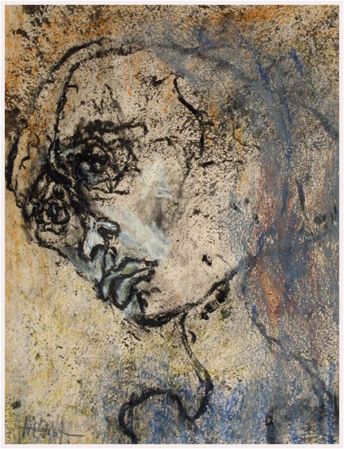 Halina Olomucki, When will it end? Enough! Enough!, 1955. From the cycle: Camp, oil crayon on paper, 27x20.5 cm