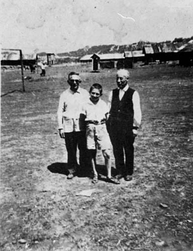 Dr. Josef Teitelbaum and his son Israel Raul in the Detention Camp in Peza, Albania, 1942