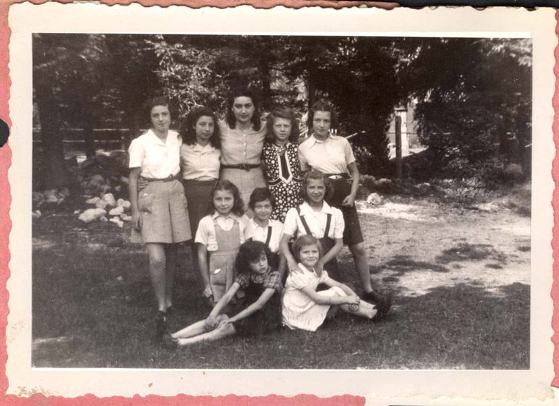 St. Georges, France, Girls in a group photograph at a children's home, where Jewish children were hidden during the Holocaust
