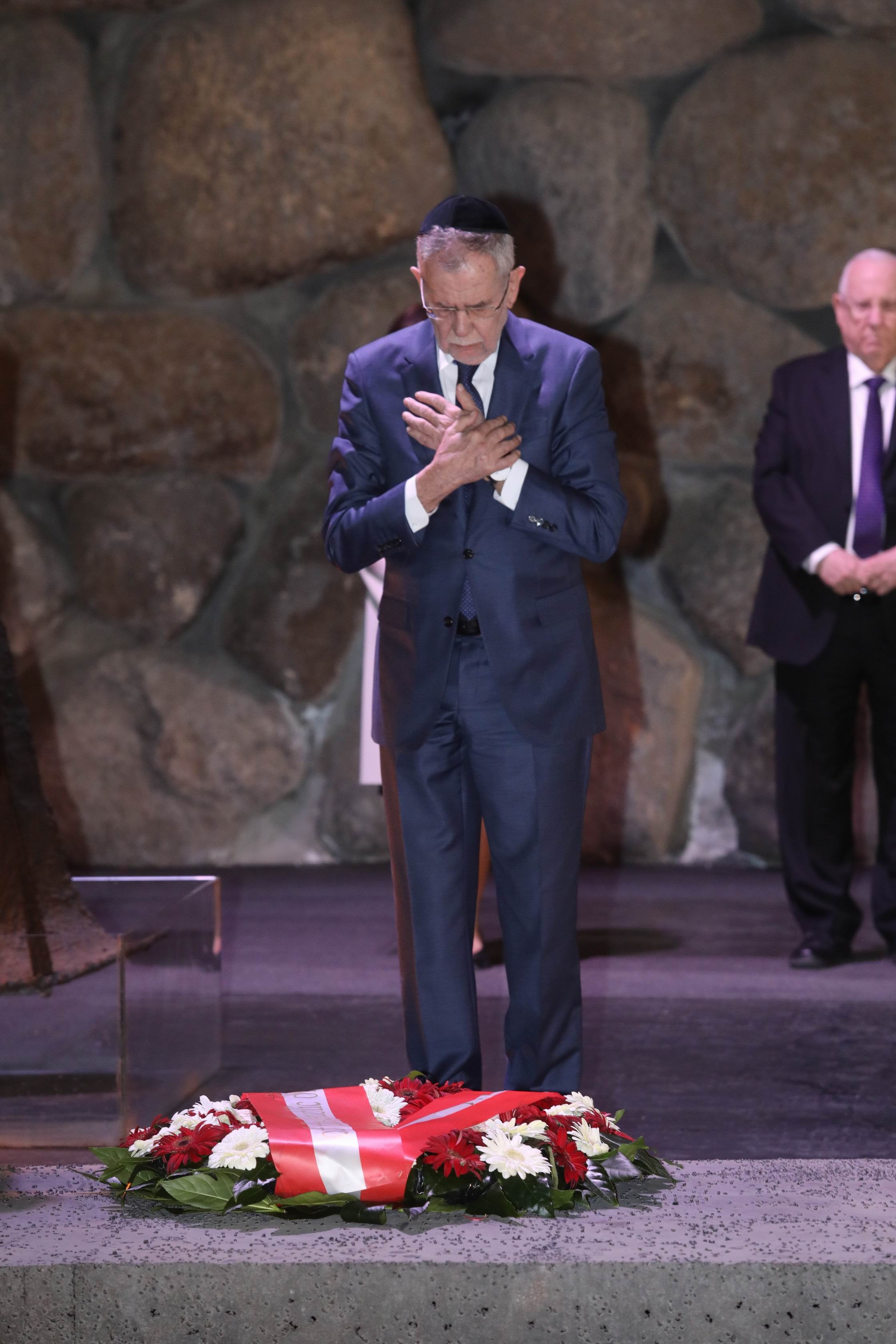 The President paid his respects to the six million victims of the Holocaust at the memorial ceremony