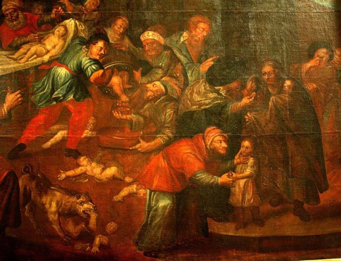 Painting of blood libel in Sandomierz Cathedral, Poland, dating from the 18th century