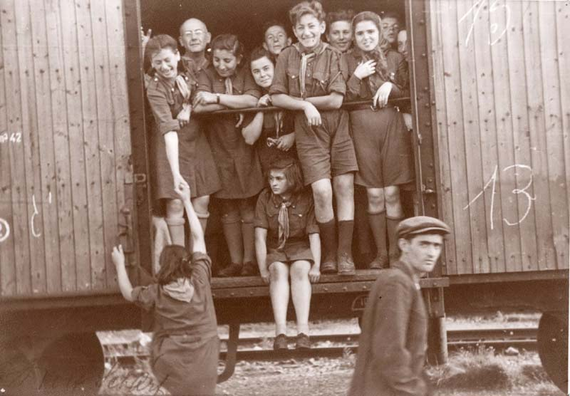 The Bericha - a Group of Children, Members of a Youth Movement, on a Train to Bratislava, Czechoslovakia, 1946