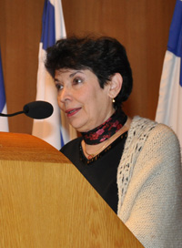 Prof. Dina Porat, Chief Historian of Yad Vashem speaking on the Day Symposium in honor of Prof. Israel Gutman