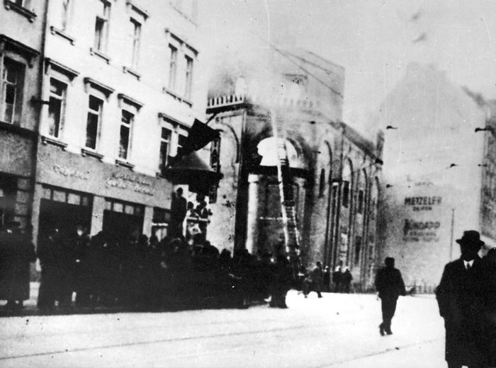 Leipzig, Germany, the Gottschedstrasse Synagogue during Kristallnacht