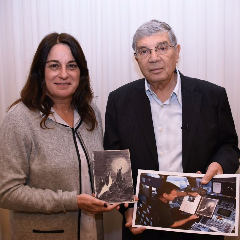 Rona Ramon, widow of Israeli Astronaut Ilan Ramon, was presented with the replica of the drawing by Yad Vashem Chairman Avner Shalev