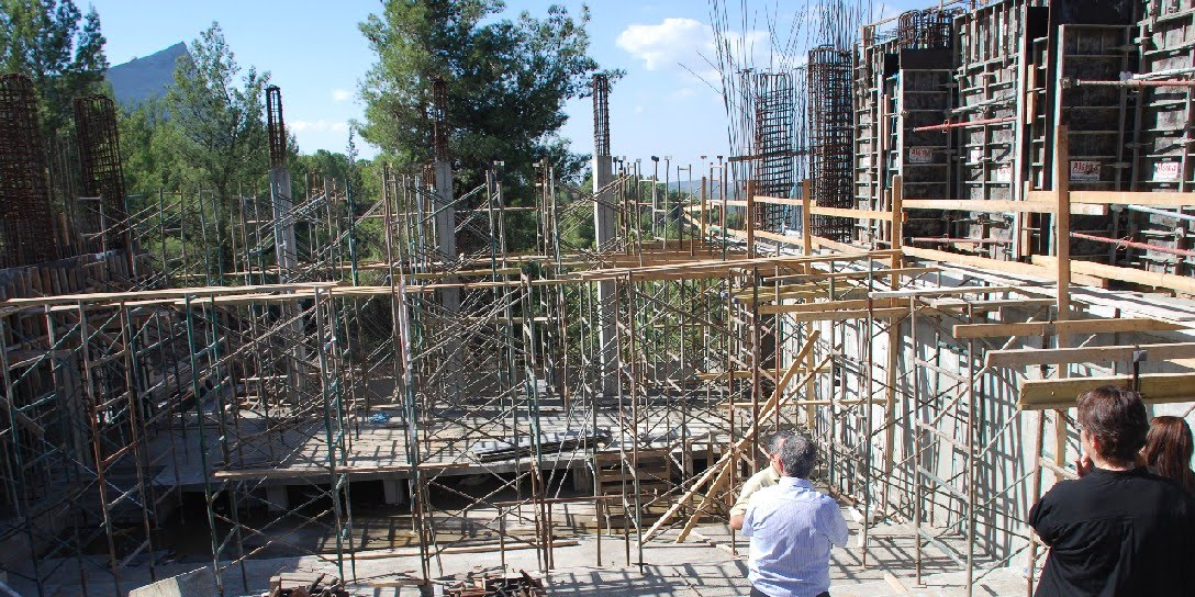 The construction site of the Edmond J. Safra Lecture Hall, part of the new wing of the International School for Holocaust Studies at Yad Vashem