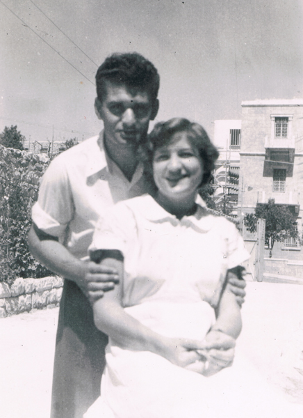 Shela Tzion in nurse's uniform with Avraham Altaraz, Jerusalem, 1954.