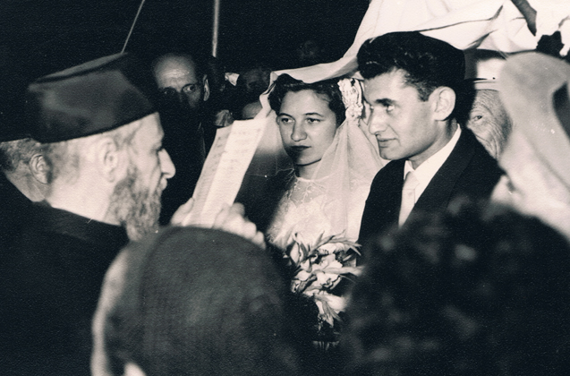 The wedding of Shela Tzion and Avraham Altaraz, Jerusalem, June 1955.