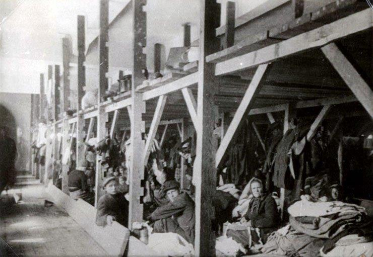 Jews on bunks at the Monopol Factory.