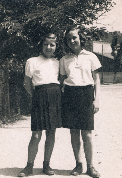 Shela with her friend Lotika in the Belgrade orphanage. 1947.