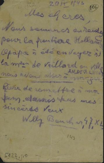 Lettre écrite et lancée du train par Willy Goldfinger le 20 septembre 1943