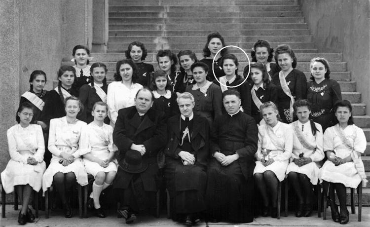 Biship Gojdic in the first row, center. Marianne Zack, one of his survivors marked with circle