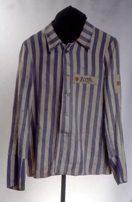 The camp inmate shirt of Dr. Walter Loebner who was imprisoned for a total of six years in various Nazi camps