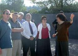 Members of the Education Working Group of the Task Force for International Cooperation on Holocaust Education, Remembrance and Research receive a guided tour of the new visitor's center at Yad Vashem, scheduled to be completed in April 2002