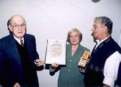 Justice Yaacov Maltz (left), Valentina's adoted daughter, Svetlana Shukaliuk and Yefim Shtraim (now Sklarsky)