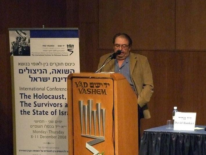 Head of the International Institute for Holocaust Research Prof. David Bankier addresses the conference