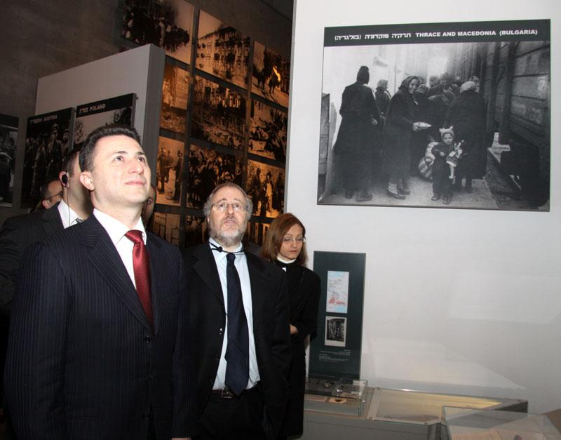 Prime Minister Nikola Gruevski, guided by Director of the Library Dr. Robert Rozett, in the Holocaust History Museum