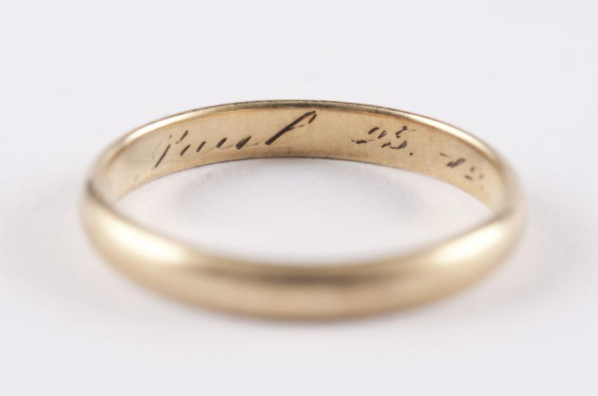 Wedding ring of Grete and Pavel Bader The ring is engraved with