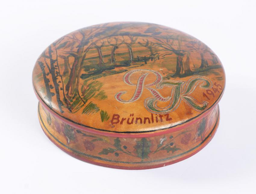 Decorative wooden box that Ruth Kohn received for her nineteenth birthday in February 1945 while she was working in Oskar Schindler's factory