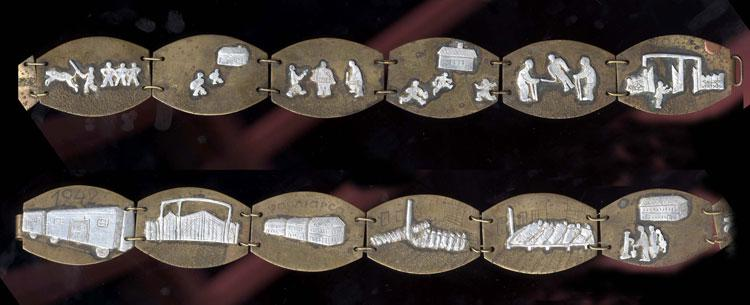 Testimony regarding the plight of prisoners in the Vapniarca camp, as depicted on a metal belt made in the camp