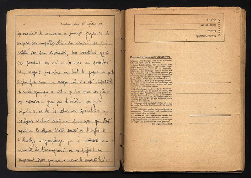First page of the diary written by Alexander Mayer after the liberation of Auschwitz on blank forms that he found in the camp