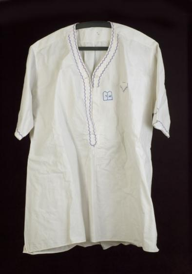 The shirt that Shmuel Daich's sister, Chaya-Fruma, embroidered for him shortly before he left the Kovno Ghetto