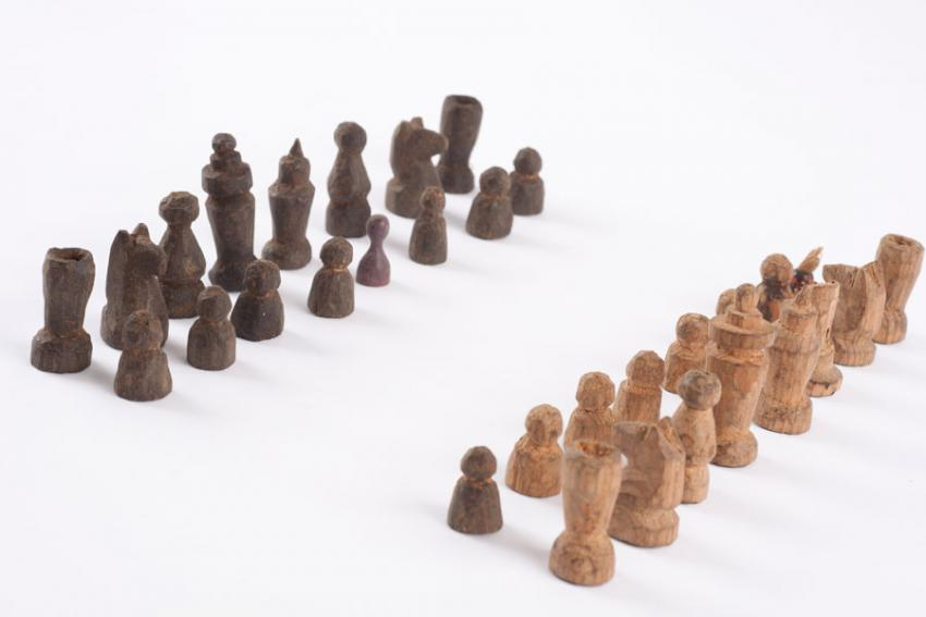 Chess pieces that Malka Giske found after the war next to her former home in the Lodz ghetto