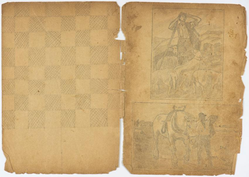 Chessboard from the notebook that Kuba (Jack) Jaget used as a sketchbook while in hiding