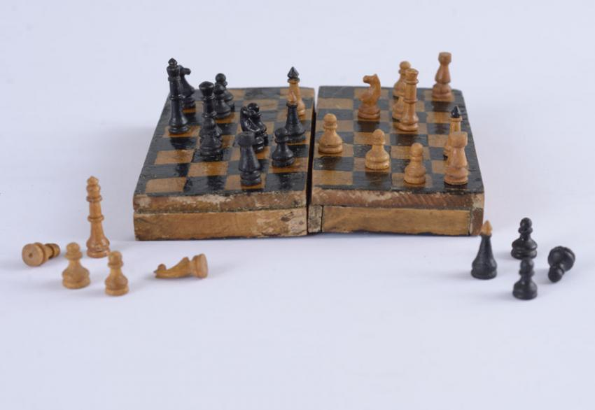A chess set made by Yisrael & Yitzhak Roth and Aryeh Klein in the detainment camp in Cyprus