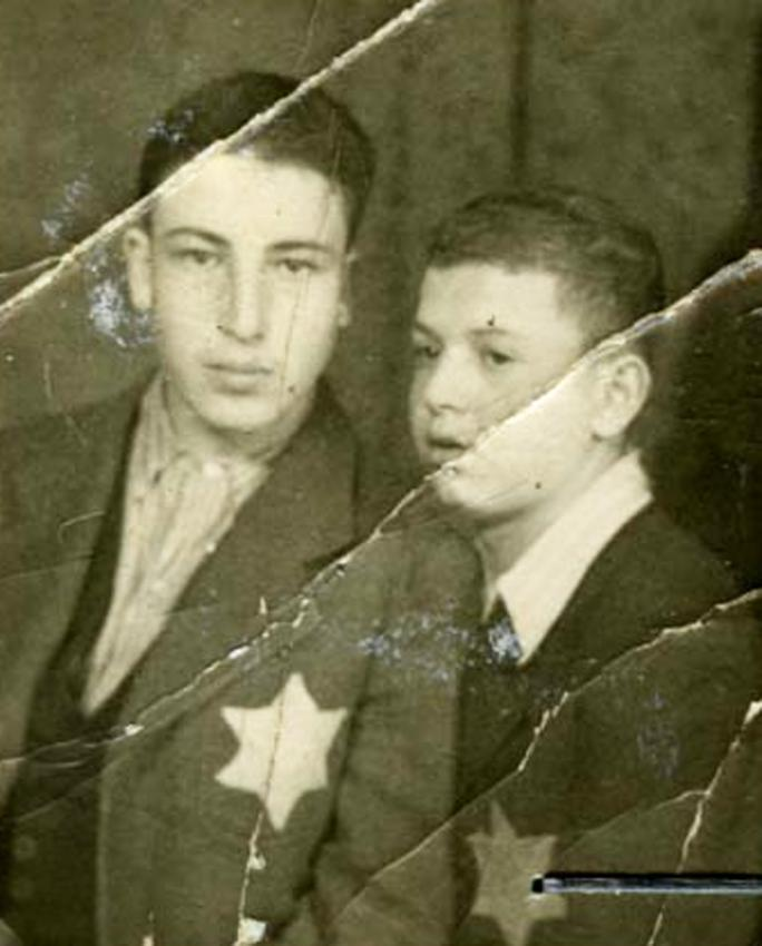 Jewish boys in Hungary wearing the yellow star on their clothes