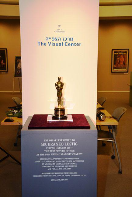 """Branko Lustig's Oscar for Best Picture for the film """"Schindler's List"""" now on display at Yad Vashem's Visual Center"""