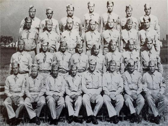 Master Sgt Roddie W. Edmonds (front Row 2nd from Left) in Camp Atterbury, Indiana