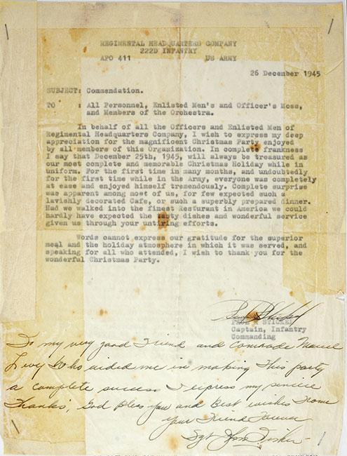 Letter of commendation following the Division Christmas party