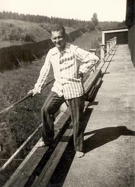 Dr. Walter Loebner wearing his camp inmate shirt shortly after liberation