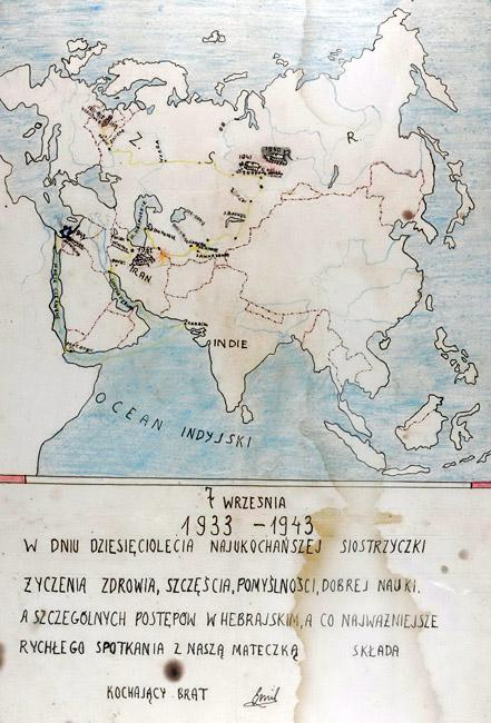 The map that Emil Landau drew showing the route that they had journeyed from Poland to Eretz Israel