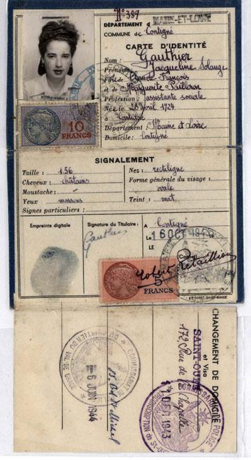 A false document in the name of Jaqueline Gauthier used by Judith Geller, a member of the French Resistance