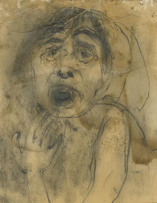 "Halina Olomucki, ""Don't shoot my mother!"",  Auschwitz-Birkenau, c. 1944, Pencil and Charcoal on paper, 17.3X13.6 cm"