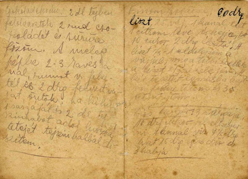 Recipes Yehudit Aufrichtig wrote in Ravensbrück forced labor Camp