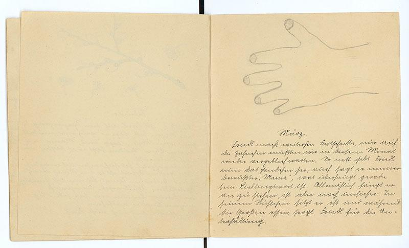 An outline of the hand of Friedl Bruckmann, born in 1925 in Nabburg, Germany drawn in his baby diary by his mother Gerta
