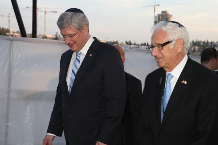 Prime Minister of Canada Stephen Harper chats with Vice-Chair of the Canadian Society for Yad Vashem and Yad Vashem Pillar Joseph Gottdenker during his visit to Yad Vashem on 21 January 2014