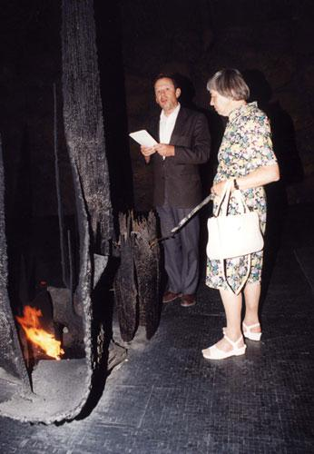 Grueninger's daughter rekindles the eternal flame in the Hall of Remembrance, Yad Vashem