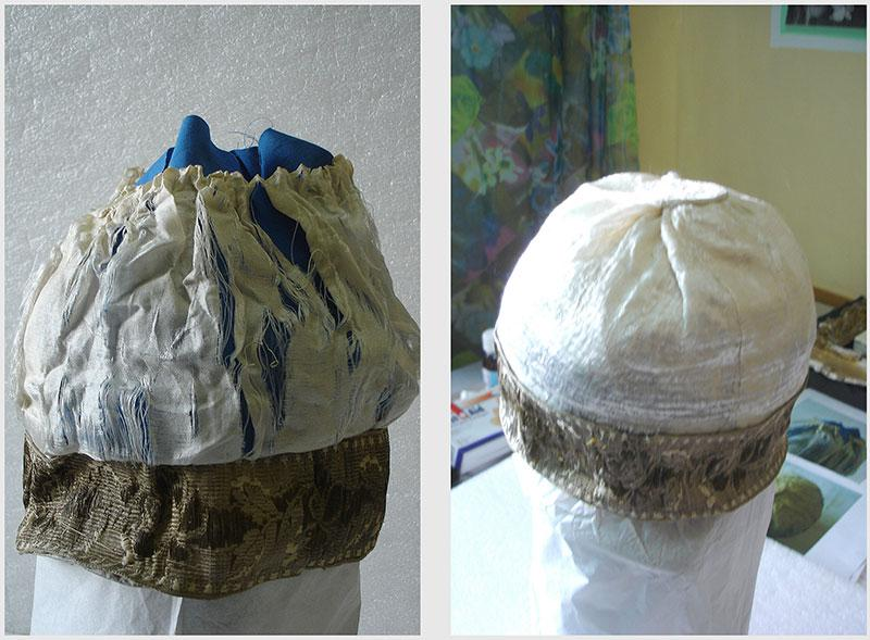A cantor's hat that was donated to the Collection, before and after restoration carried out in preparation for the artifact's loan to an exhibition in Munich, June 2012