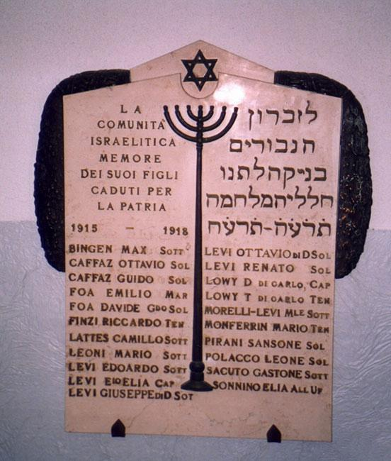 Memorial plaque in the synagogue in Genoa, inscribed with the names of the soldiers of the Jewish community who fell in World War I, among them Dario and Tullio Lovvy