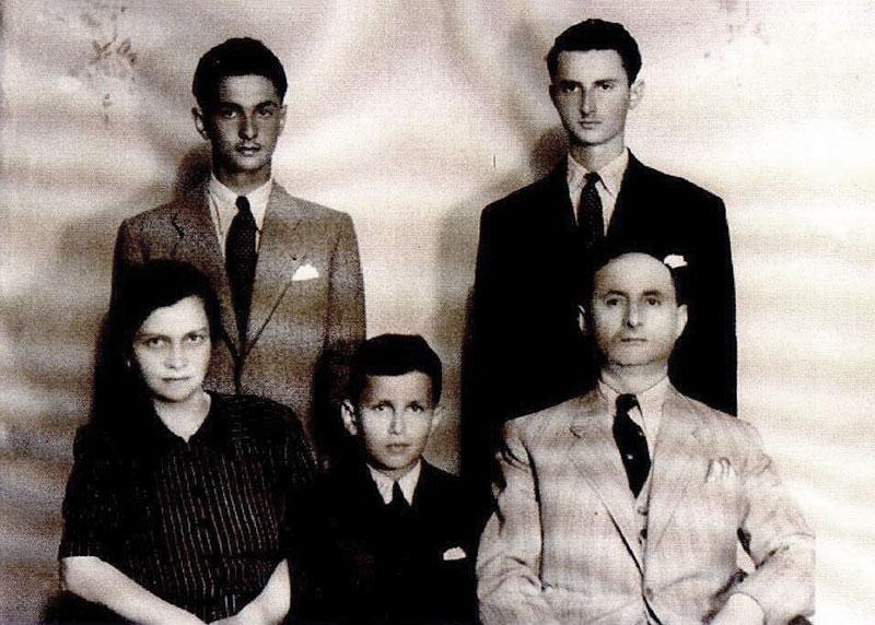 The Akons family at the end of the war: Heinrich, Frida and the boys, Yugoslavia, 1945